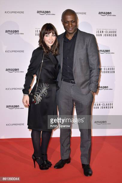Actress Alix Benezech and Journalist Harry Roselmack attend the Amazon TV series 'Jean Claude Van Johnson' Premiere at Le Grand Rex on December 12...