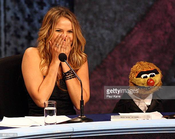 Actress Alix Bidstrup from All Saints reacts during the Channel Seven Perth Telethon at The Perth Convention Exhibition Centre on October 4 2008 in...