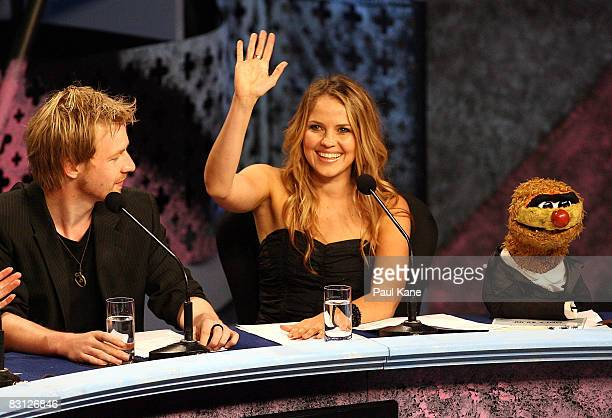 Actress Alix Bidstrup from All Saints waves to the audience during the Channel Seven Perth Telethon at The Perth Convention Exhibition Centre on...