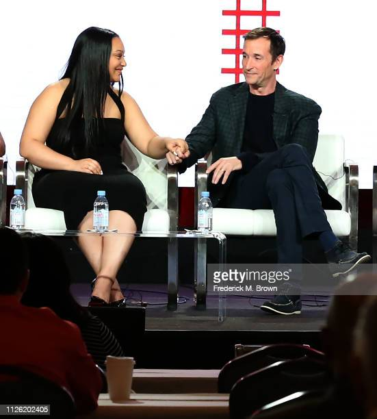 Actress Aliyah Royale and actor Noah Wyle of the television show 'The Red Line' speak during the CBS segment of the 2019 Winter Television Critics...