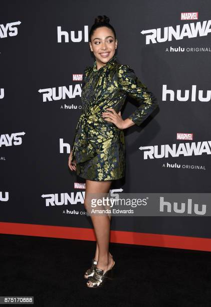 Actress Allegra Acosta arrives at the premiere of Hulu's Marvel's Runaways at the Regency Bruin Theatre on November 16 2017 in Los Angeles California
