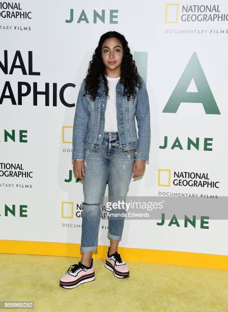 "Actress Allegra Acosta arrives at the premiere of National Geographic Documentary Films' ""Jane"" at the Hollywood Bowl on October 9, 2017 in..."