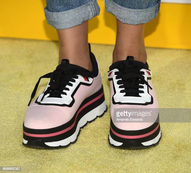Actress Allegra Acosta shoe detail arrives at the premiere of National Geographic Documentary Films' Jane at the Hollywood Bowl on October 9 2017 in...