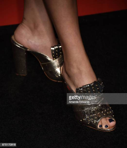 Actress Allegra Acosta shoe detail arrives at the premiere of Hulu's Marvel's Runaways at the Regency Bruin Theatre on November 16 2017 in Los...