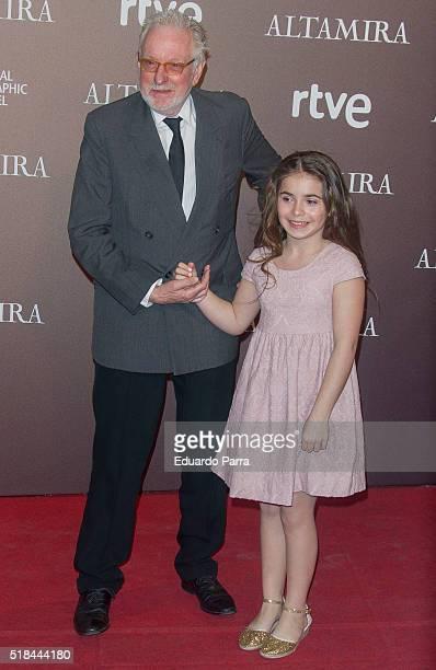 Actress Allegra Allen and director Hugh Hudson attends 'Altamira' premiere at Callao cinema on March 31 2016 in Madrid Spain