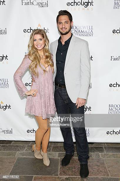 Actress Allie DeBerry and San Francisco Giants pitcher Tyler Beede attend the 'Hoovey' Los Angeles premiere at Bel Air Presbyterian Church on January...