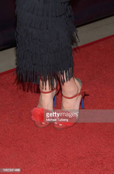 Actress Allie Gonino shoe detail attends the premiere of 'High Voltage' at TCL Chinese 6 Theatres on October 16 2018 in Hollywood California