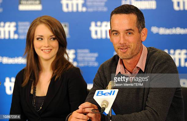 Actress Allie MacDonald and Director Michael McGowan speak at 'Score A Hockey Musical' press conference during the 2010 Toronto International Film...