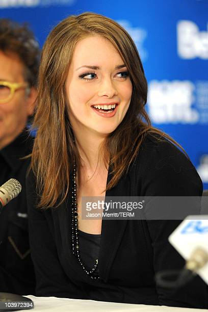 Actress Allie MacDonald speaks at 'Score A Hockey Musical' press conference during the 2010 Toronto International Film Festival at the Hyatt Regency...