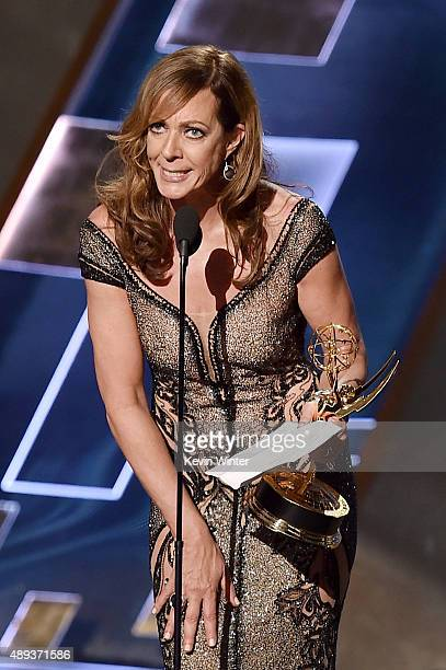 Actress Allison Janney accepts Outstanding Supporting Actress in a Comedy Series award for 'Mom' onstage during the 67th Annual Primetime Emmy Awards...