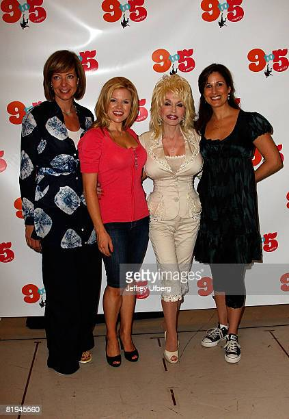 Actress Allison Janney Actress Megan Hilty Musician/Actress Dolly Parton and Actress Stephanie J Block attends the press conference for 9 To 5 The...