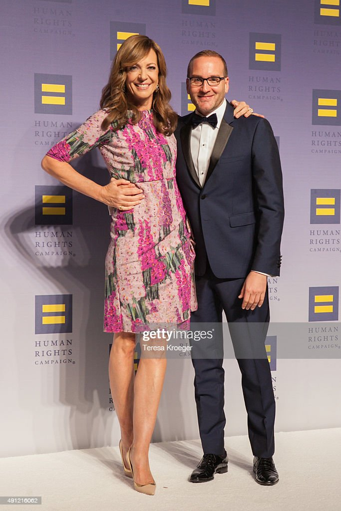 Actress Allison Janney (L) and HRC President Chad Griffin attend the 19th Annual HRC National Dinner at Walter E. Washington Convention Center on October 3, 2015 in Washington, DC.