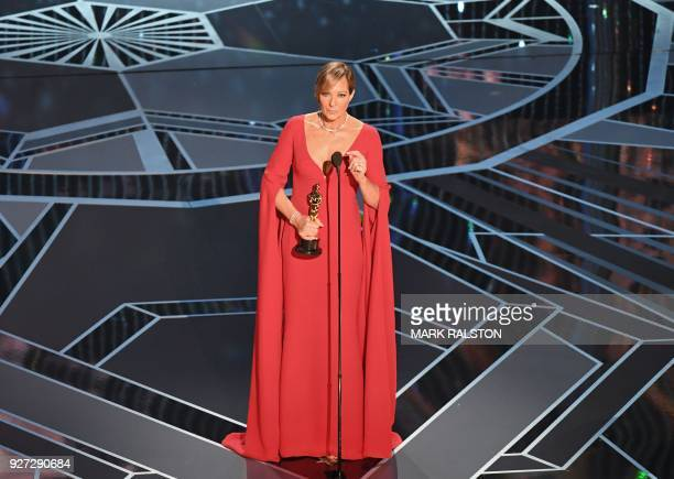 US actress Allison Janney delivers a speech after she won the Oscar for Best Supporting Actress in I Tonya during the 90th Annual Academy Awards show...