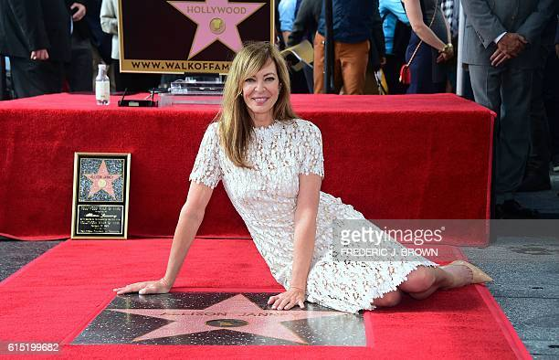 Actress Allison Janney poses with her Star after it was unveiled during her Hollywood Walk of Fame star ceremony on October 17 2016 in Hollywood...