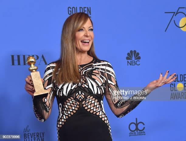 TOPSHOT Actress Allison Janney poses with the trophy for Best Performance by an Actress in a Supporting Role in any Motion Picture during the 75th...
