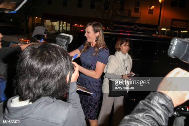 Actress Allison Janney signs autographs for fans before a premiere of 'I Tonya' at the Christopher B Smith Rafael Film Center on December 2 2017 in...