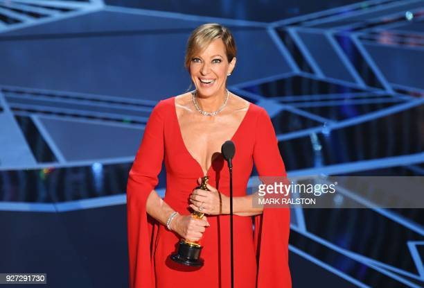TOPSHOT US actress Allison Janney smiles after she won the Oscar for Best Supporting Actress in 'I Tonya' during the 90th Annual Academy Awards show...