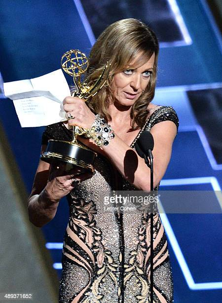 Actress Allison Janney speaks onstage during the 67th Annual Primetime Emmy Awards at Microsoft Theater on September 20 2015 in Los Angeles California