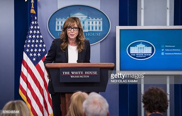 US actress Allison Janney who played the role of press secretary CJ Cregg on the television drama The West Wing arrives at the podium in the White...