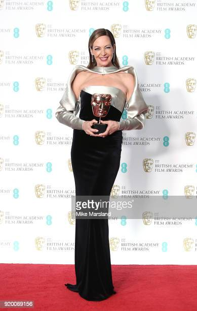 Actress Allison Janney winner of the Best Supporting Actress award for her role in the movie 'I Tonya' poses in the press room during the EE British...