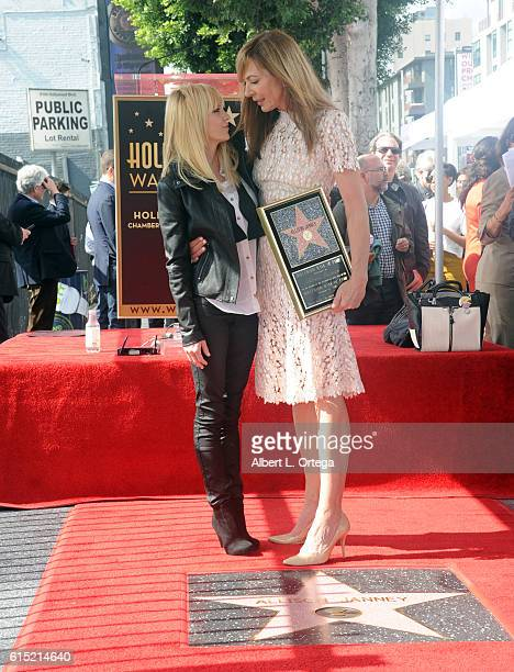 Actress Allison Janney with actress Anna Faris at the Star ceremony held on The Hollywood Walk of Fame on October 17 2016 in Hollywood California