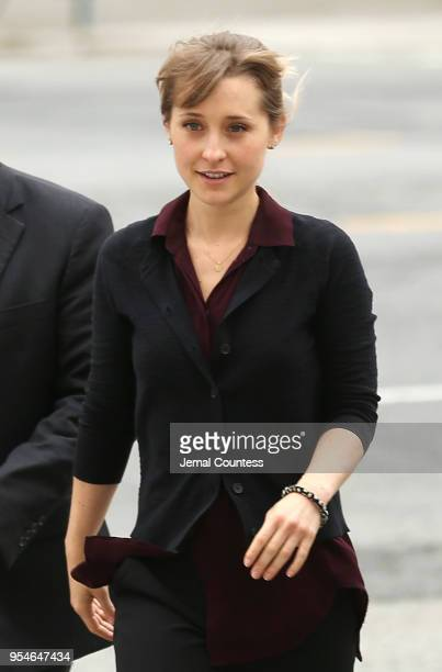 Actress Allison Mack arrives at the United States Eastern District Court after a bail hearing in relation to the sex trafficking charges filed...
