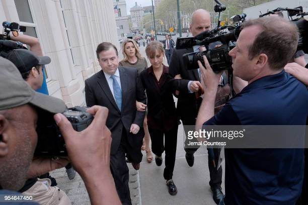 Actress Allison Mack arrives at the United States Eastern District Court for a bail hearing in relation to the sex trafficking charges filed against...