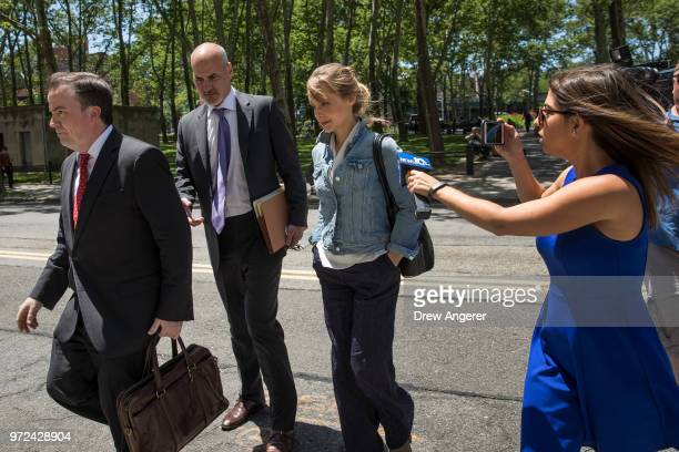 Actress Allison Mack arrives at the US District Court for the Eastern District of New York for a status conference June 12 2018 in the Brooklyn...