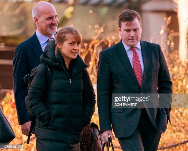Actress Allison Mack arrives at the US Federal Courthouse in Brooklyn on January 9 2019 in New York Mack is facing federal sex trafficking forced...
