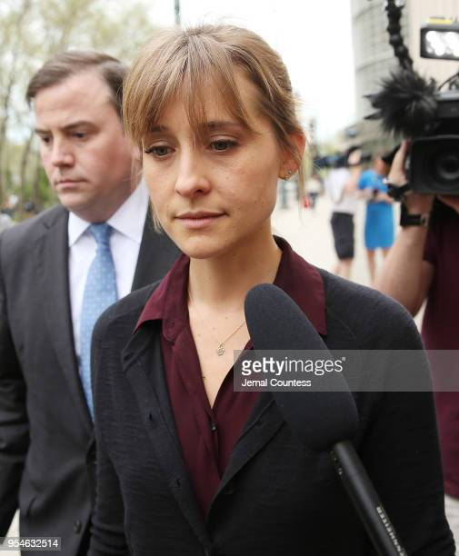 Actress Allison Mack departs the United States Eastern District Court after a bail hearing in relation to the sex trafficking charges filed against...