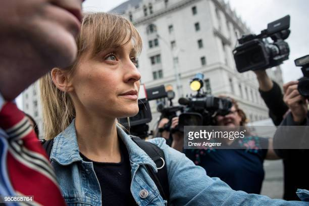 Actress Allison Mack leaves US District Court for the Eastern District of New York after a bail hearing April 24 2018 in the Brooklyn borough of New...