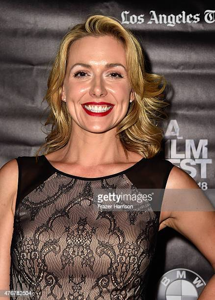 Actress Allison McAtee arrives at the 2015 Los Angeles Film Festival 'Too Late' Premiere at LACMA on June 11 2015 in Los Angeles California
