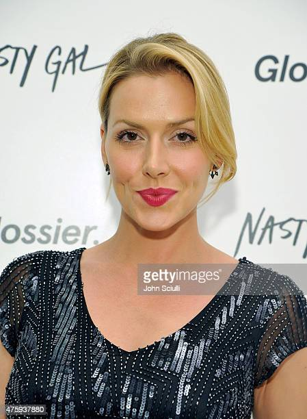 Actress Allison McAtee attends Glossier PopUp Shop at Nasty Gal Santa Monica on June 4 2015 in Santa Monica California