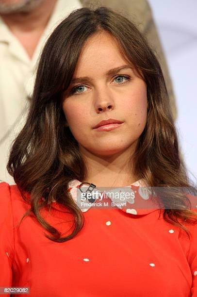 Actress Allison Miller of 'Kings' speaks during the NBC Universal portion of the Television Critics Association Press Tour held at the Beverly Hilton...