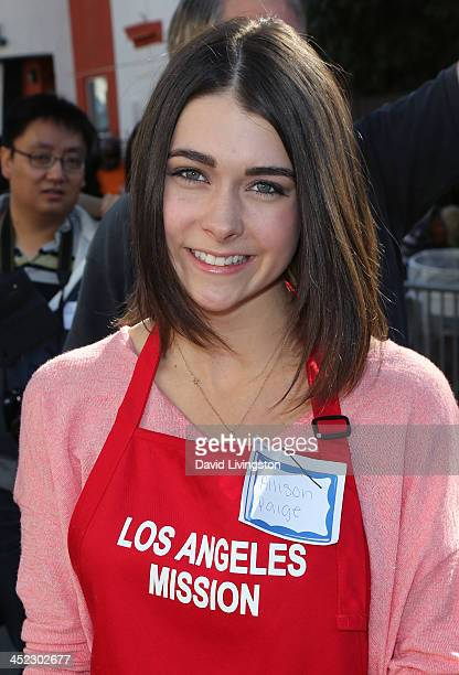 Actress Allison Paige attends the LA Mission's Annual Thanksgiving for the Homeless at the Los Angeles Mission on November 27 2013 in Los Angeles...