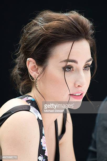 Actress Allison Scagliotti poses in the press room for the Stitchers panel during New York ComicCon Day 2 at The Jacob K Javits Convention Center on...
