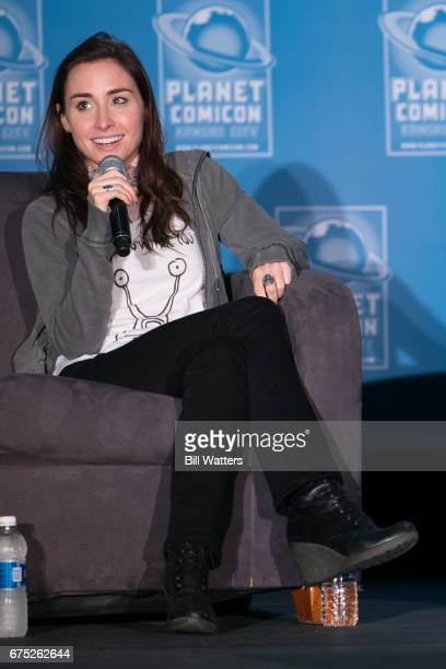 Actress Allison Scagliotti speaks during a panel at Planet Comicon Kansas City at the Kansas City Convention Center on April 30 2017 in Kansas City...