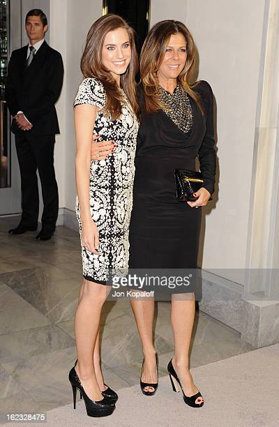 Actress Allison Williams and actress Rita Wilson arrive at Tom Ford Cocktails In Support Of Project Angel Food Media at TOM FORD on February 21 2013...