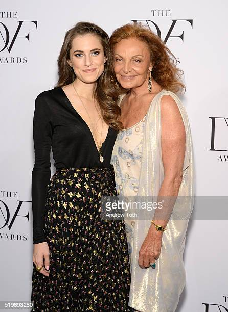 Actress Allison Williams and Diane von Furstenberg attend the 2016 DVF Awards at United Nations on April 7 2016 in New York City