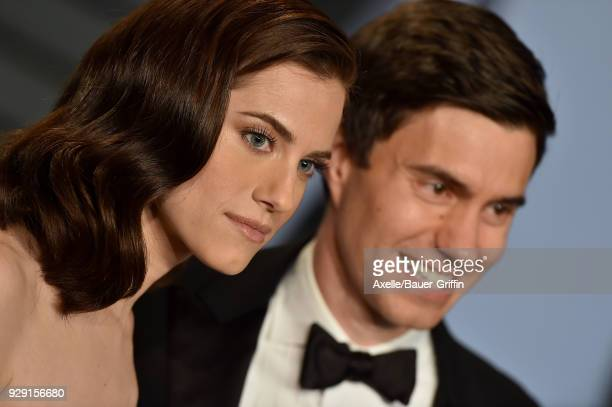 Actress Allison Williams and Ricky Van Veen attend the 2018 Vanity Fair Oscar Party hosted by Radhika Jones at Wallis Annenberg Center for the...