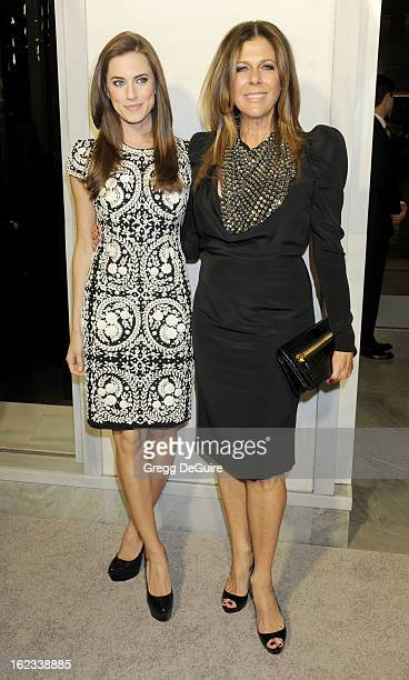 Actress Allison Williams and Rita Wilson arrive at the Tom Ford cocktail party in support of Project Angel Food at TOM FORD on February 21 2013 in...