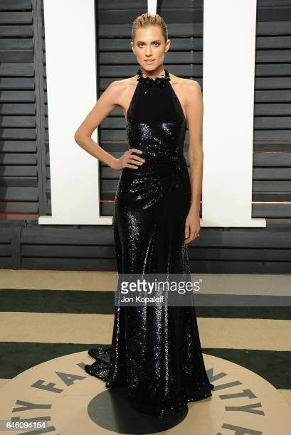 Actress Allison Williams arrives at the 2017 Vanity Fair Oscar Party Hosted By Graydon Carter at Wallis Annenberg Center for the Performing Arts on...