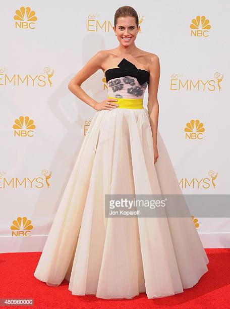 Actress Allison Williams arrives at the 66th Annual Primetime Emmy Awards at Nokia Theatre LA Live on August 25 2014 in Los Angeles California
