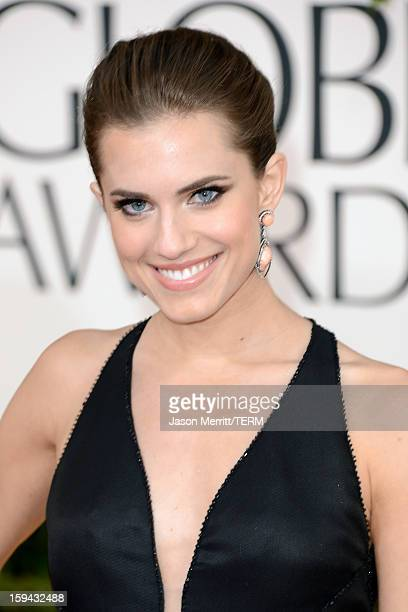 Actress Allison Williams arrives at the 70th Annual Golden Globe Awards held at The Beverly Hilton Hotel on January 13 2013 in Beverly Hills...