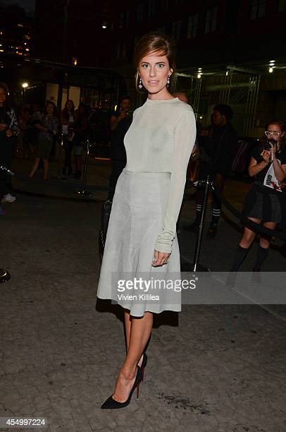 Actress Allison Williams arrives at the rag bone fashion show during MercedesBenz Fashion Week Spring 2015 at Skylight at Moynihan Station on...