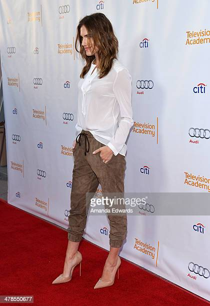 "Actress Allison Williams arrives at The Television Academy Presents An Evening With ""Girls"" event at the Leonard H. Goldenson Theatre on March 13,..."