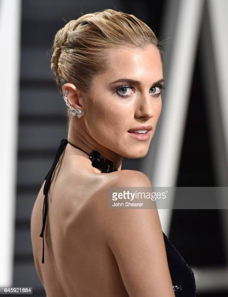 Actress Allison Williams attends the 2017 Vanity Fair Oscar Party hosted by Graydon Carter at Wallis Annenberg Center for the Performing Arts on...
