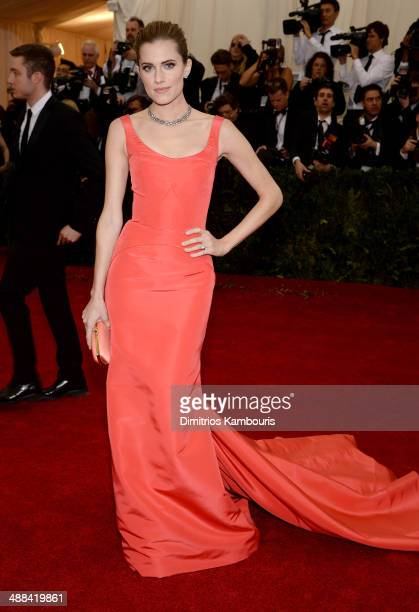 Actress Allison Williams attends the Charles James Beyond Fashion Costume Institute Gala at the Metropolitan Museum of Art on May 5 2014 in New York...