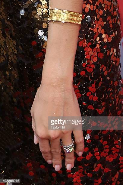 Actress Allison Williams bracelet detail engagement ring detail attends Fashion Group International's 2015 Night of Stars The Revolutionaries at...
