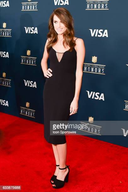 Actress Allison Williams pauses for photos during the NFL Honors Red Carpet on February 4 2017 at the Worthan Theater Center Houston Texas
